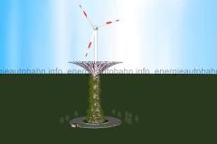 """Schema: Windkraftanlage mit vertikaler Bepflanzung (Vorbild: Supertrees aus """"Gardens by the Bay"""" in Singapur)"""