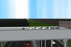 Schema: Begrünte T-Konstruktion mit Photovoltaik, ohne e-Bahnschienen