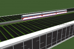 Schema: Elektrische Versorgungsbahn und Pflanzstreifen für Insekten auf T-Konstruktion