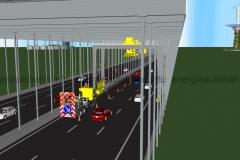 Schema: Bau- oder Wartungsmaßnahme an T-Konstruktion während Fahrbetrieb