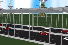 Schema: Energieautobahn mit seitlichem Aufprallschutz für T-Konstruktion