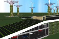 Schema: Vertikale Begrünung an der T-Konstruktion