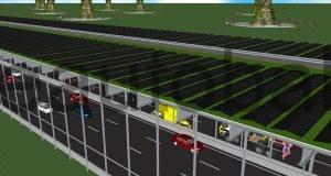 Schema: Photovoltaik-Anlage über der Autobahn