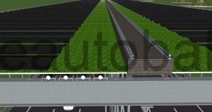 Schema: 2 Paare HGÜ-Kabel unter begrünter Decke mit Photovoltaik-Anlage