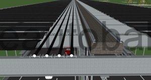 Schema: Darstellung exemplarischer Verlegung der HGÜ-Kabel auf T-Konstruktion